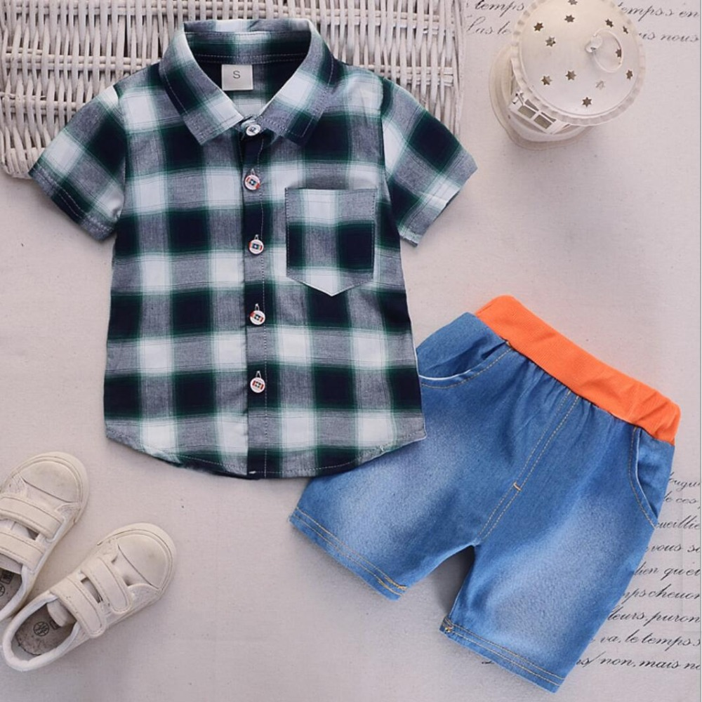 Summer Baby Boy Clothes Sets Newborn Baby plaid shirt Tops +Shorts jeans 2PCS Outfit Tracksuit Toddler Kids boys Clothing Set