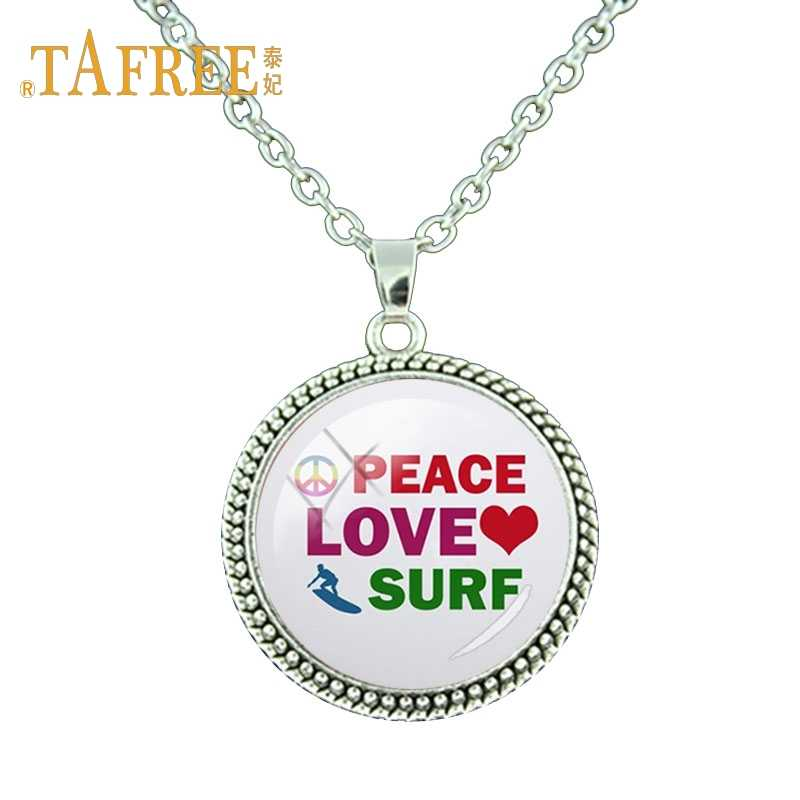 TAFREE Fashion art picture surf Antique Silver Plated Pendant necklace exquisite  for boyfriend  birthday Gift Jewelry SF38