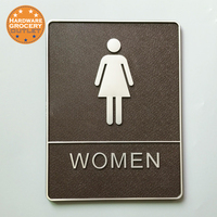 3D Digital Women Toilet Sign With Raised White Tactile Graphic Characters Text And Grade 2 Braille