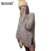 RUGOD Hot Warm Mink Cashmere Sweater for Women Beading Split Knitted pullover Women Winter Long sleeve Wool Sweater Pull Femme