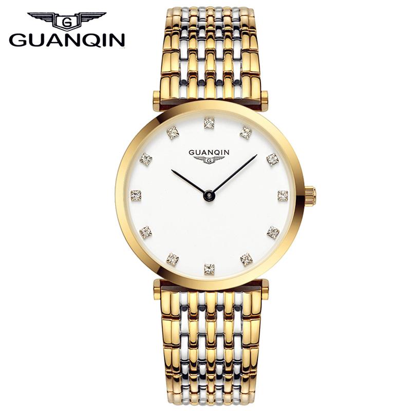 Prix pour Guanqin magnifique ultra mince conception femmes montre imperméable à l'eau de luxe quartz montre horloges femmes marque montres relogio feminino