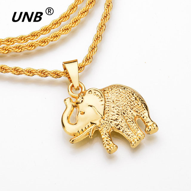 38b8c25991ee9 UNB Fashion Gold Color Elephant Necklace Trendy Men Jewelry Charm Pendant    Chain Long Necklaces Animal Lucky India Jewelry Gift