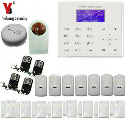 все цены на Yobang Security Touch Key WIFI GSM Alarm System Wireless Home Security Smoke Detector APP Remote Door Alarm Strobe Siren