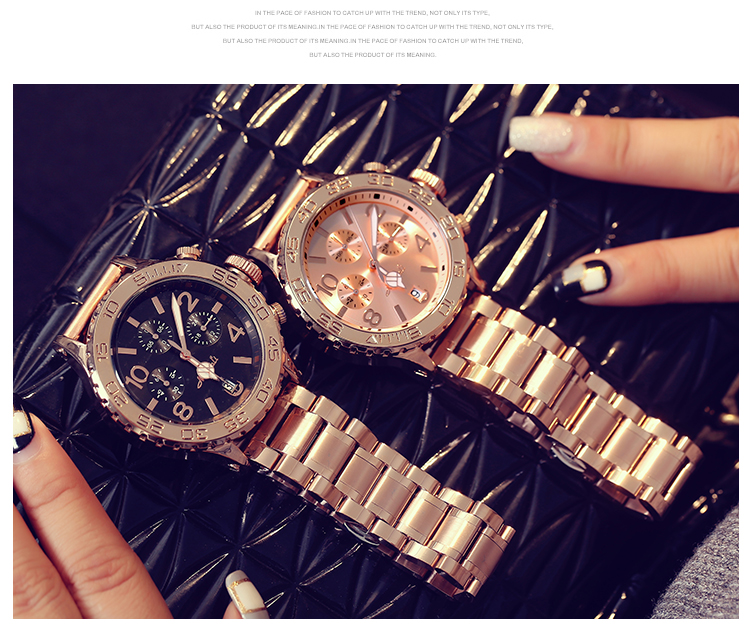 2019 Top Luxury Men Watches Women Fashion Six pin Big Dial Casual Wristwatches New Crystal Dress Watch Female Rose Gold Watch in Women 39 s Watches from Watches