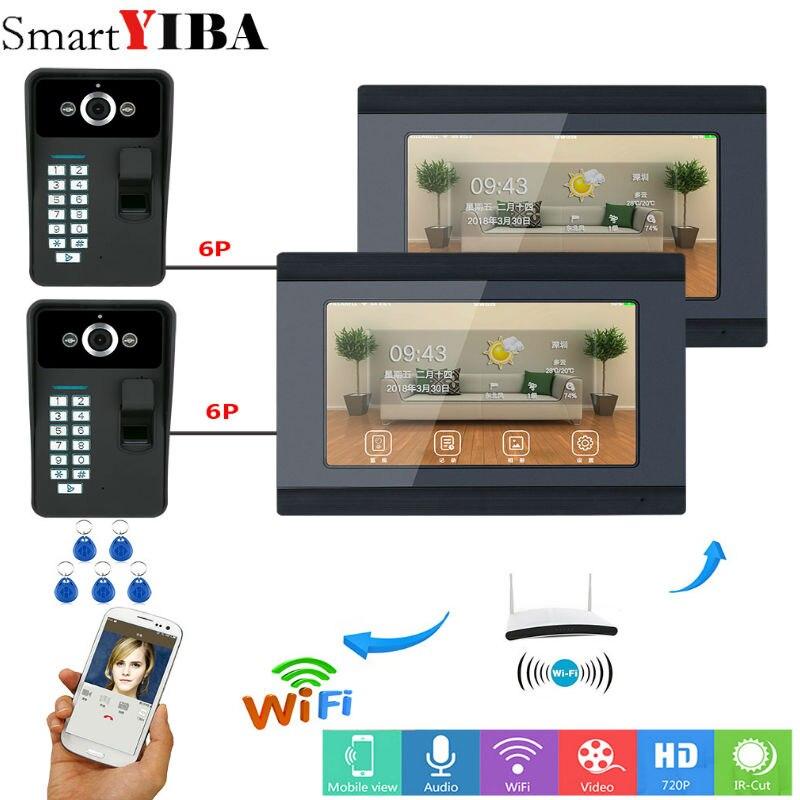 SmartYIBA 2*7 pouce Filaire/Wifi D'empreintes Digitales RFID Mot de Passe Vidéo Porte Téléphone Sonnette Interphone Système D'entrée Soutien À Distance APP 2 Cam