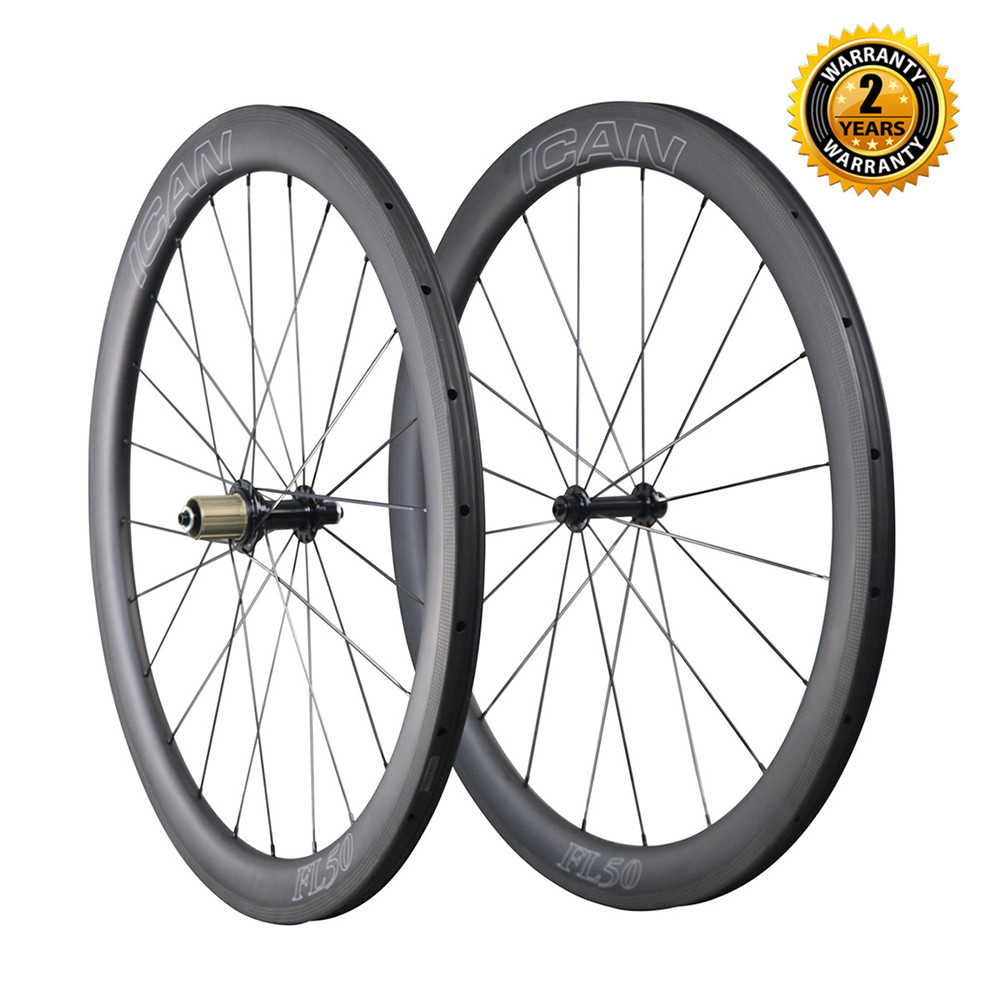 700C chinese carbon wheels 50mm clincher carbon road bike wheels with super light carbon rims 25mm width tubeless ready rims