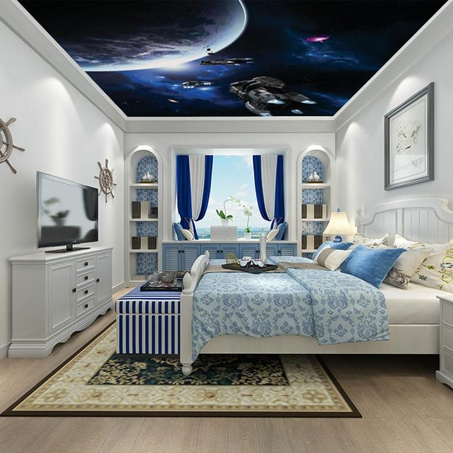 Star Wars Bedroom Accessories Uk Bedroom With Purple Accent Wall Bedroom Colours With Grey Neutral Bedroom Design Ideas: Aliexpress.com : Buy Custom Sky Ceiling Decorative Murals