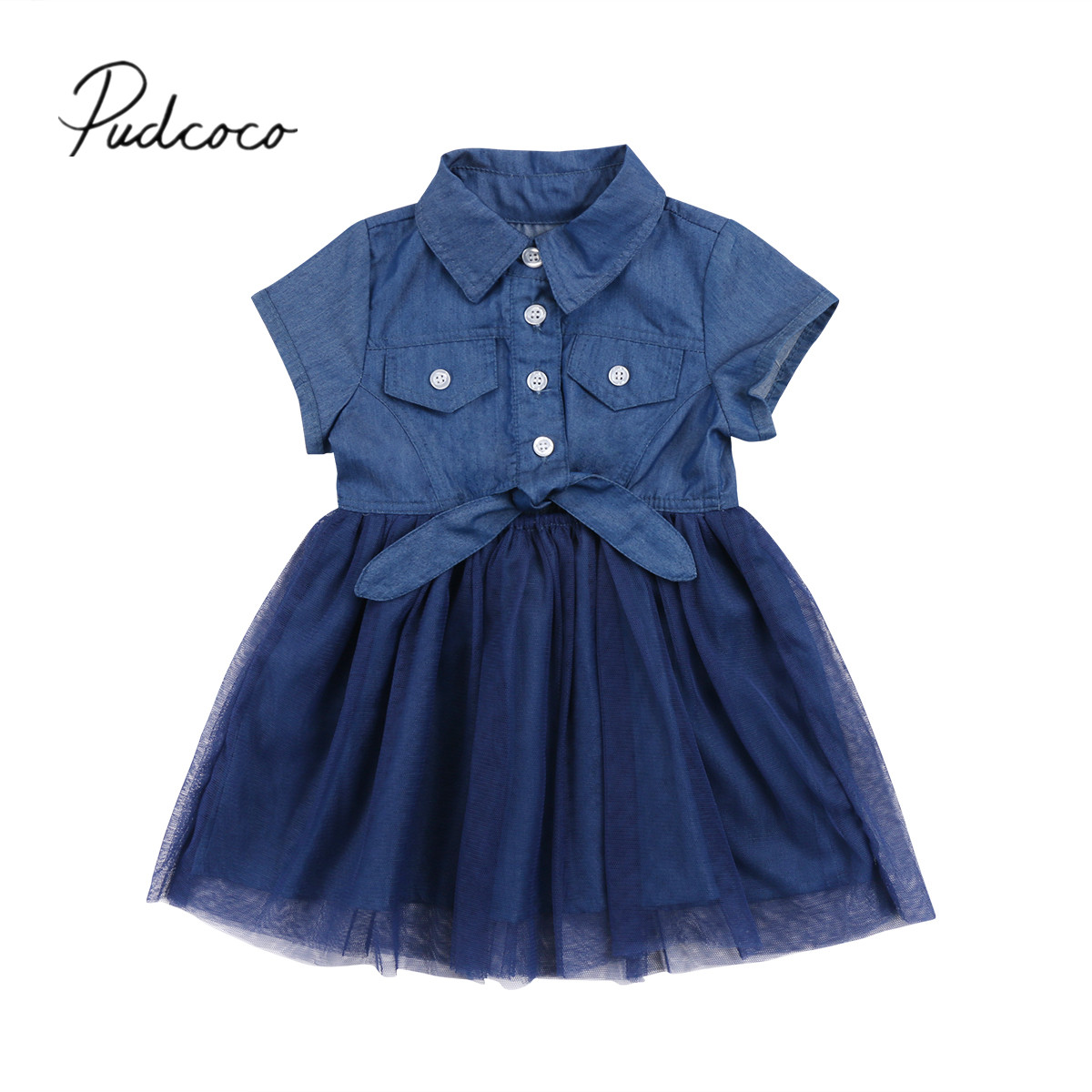 2018 Brand New Toddler Infant Children Kids Baby Girls Denim Casual Dress Bowknot Sundress Clothes Tutu Tulle Dress Outfits baby girl 1st birthday outfits short sleeve infant clothing sets lace romper dress headband shoe toddler tutu set baby s clothes