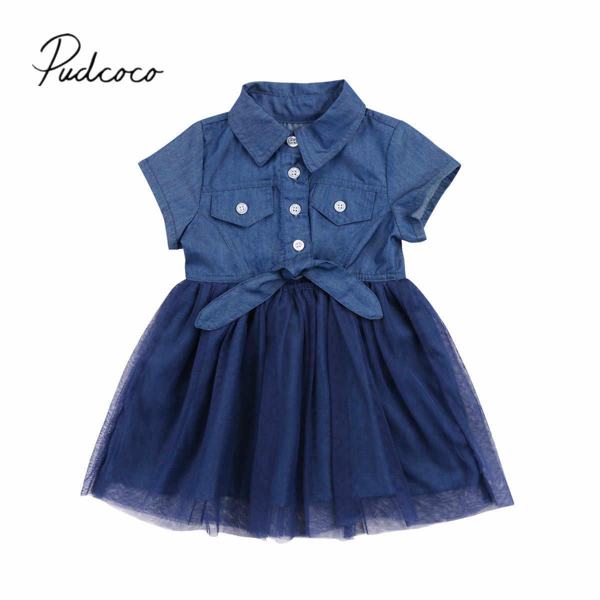 61a1f9c7360 2018 Фирменная Новинка для малышей Для детей Детские Обувь для девочек  джинсовые повседневные платья бантом сарафан