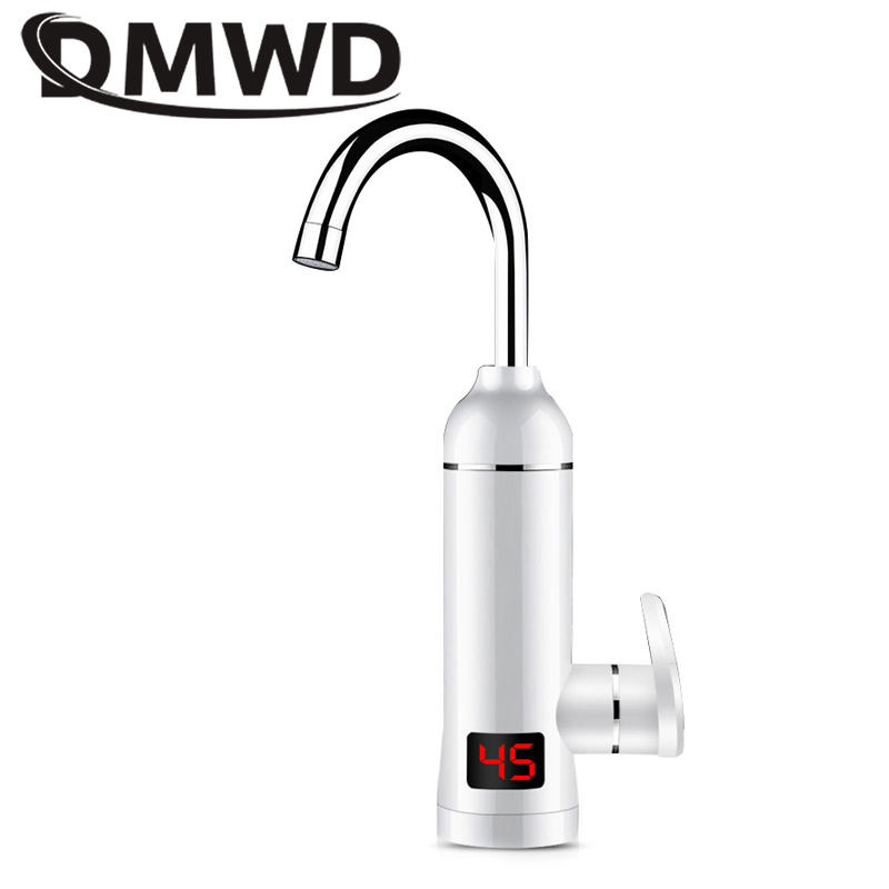 DMWD Electric Instantaneous Heating Faucet Bathroom Tankless Hot Cold Water Heater Boiler Tap LED Temperature Dispay EU US Plug