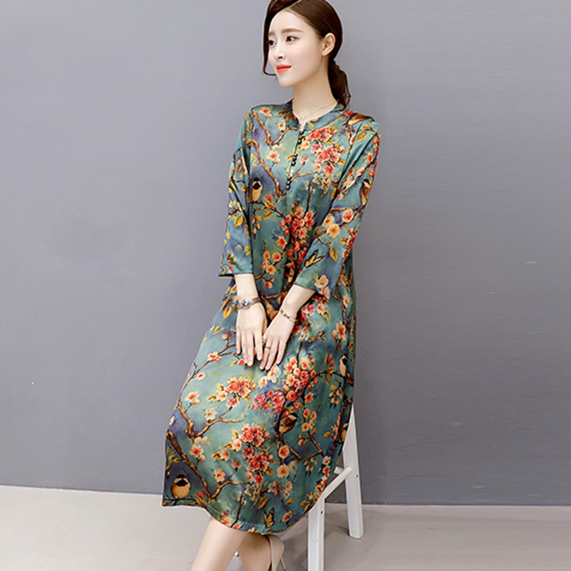 Mferlier Faux Silk Dress Women O Neck Vintage Dresses Plus Size Women Autumn Dress Floral Robe