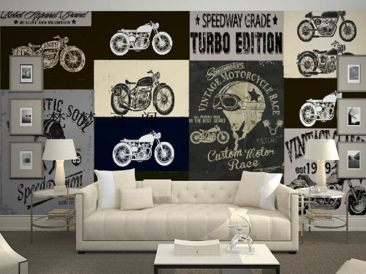 ФОТО Free Shipping motorcycle TV sofa backdrop large mural modern minimalist non-woven wallpaper