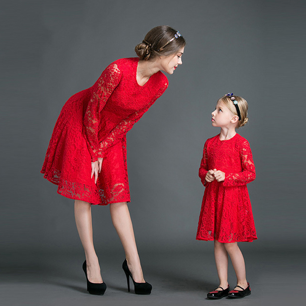 Mother Daughter Dresses 2017 Autumn Moeder En Dochter Family Matching Outfits Red Lace Dress ...