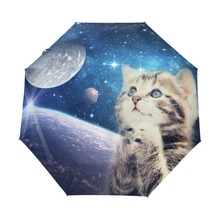 Custom Cute Cat Umbrella Sunny and Rainy Sunscreen Anti-uv Umbrella Foldable Cat Praying to the Starry Sky Women Umbrellas Rain