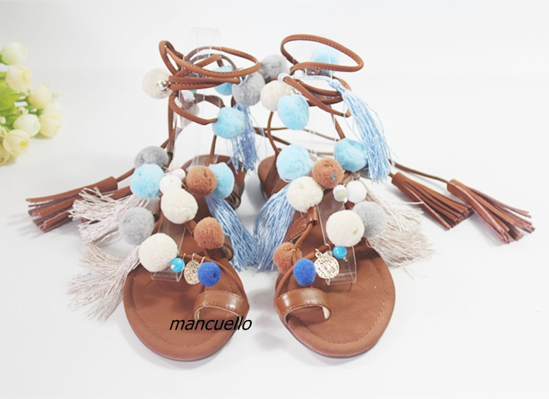 Trendy Holiday Style PU Leather Clip Toe Gladiator Sandals Colorful Pompoms Fringe Decorated Flat Shoes Tassel Lace Up Sandals bohemian style summer celebrity lace up flat shoes pom poms cute sandals skyblue pink colorful clip toe comfortable dress sandal