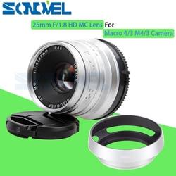 Silver 25mm F/1.8 HD MC Manual Focus Wide Angle Lens+Hood for Olympus Panasonic M4/3 GX7 GX8 G7 G6 GH4 GH3 OM-D E-M5 E-M1 E-M10
