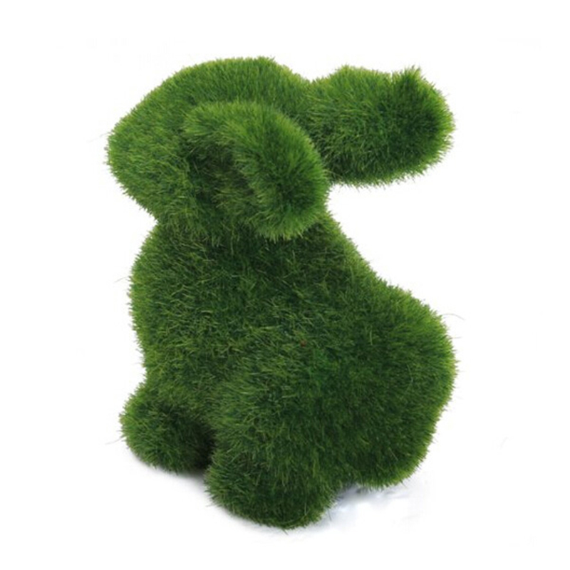 Novelty Handmade Artificial Turf Grass Animal Easter Rabbit Home Office Ornament Room Office Decor Baby Kids Toy Artwork Gifts