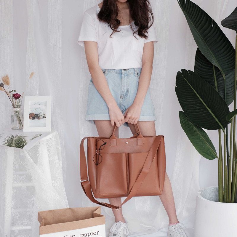 Image 3 - 2019 new Pu Leather Bag Simple Handbags Famous Brands Women Shoulder Bag Casual Big Tote Vintage Ladies Crossbody Bags-in Top-Handle Bags from Luggage & Bags