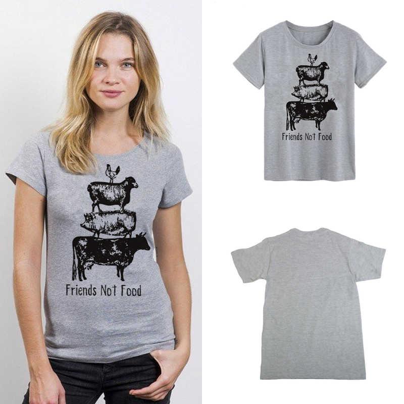 Showtly amigos no comida vegetariano vegano Tee superior herbívoro salvar animales regalos para novia esposa camisa de las mujeres T camiseta