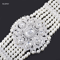 Silver Rhinestones Bridal Belt Crystal Pearls Flower Wedding Belt Sash For Bridal Bridesmaids Dresses
