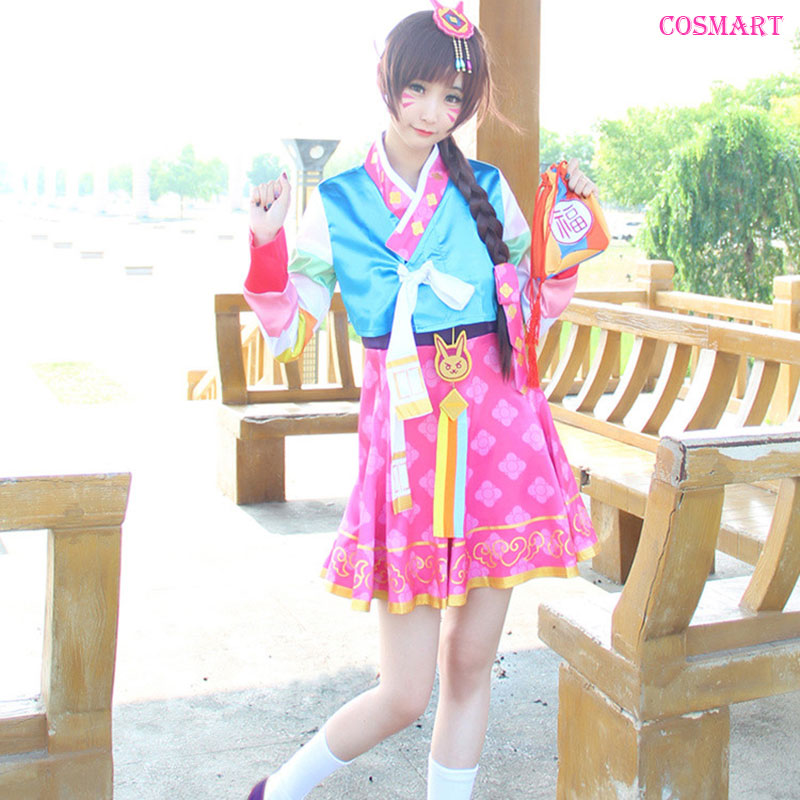 [Stock] Game OW D.VA New Year Skin Hanbok version Dress +Accessories Full set High quality cosplay costume S-XL free shipping