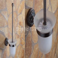 Vintage Retro Antique Red Copper Brass Wall Mounted Toilet Brush Holder Set White Brush Glass Cup