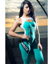 JIGERJOGER 2017 New Mint Green blue Active Letters print Gym sportswear fitness JUMPSUIT one piece sportsuits brazilian hipkini