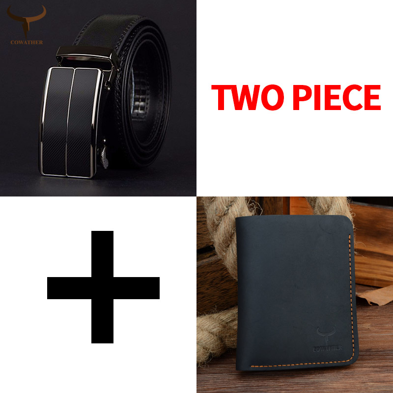 COWATHER fashion men belt and wallet set top quality cow genuine leather belt and wallet suit for men male strap purse