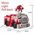 1 pcs Filhote de cachorro do Cão de Patrulha Canina Patrulla Luz Música Carros Modelo Carro de Brinquedo Pull-back Figuras de Ação para Crianças Presente de Natal para crianças