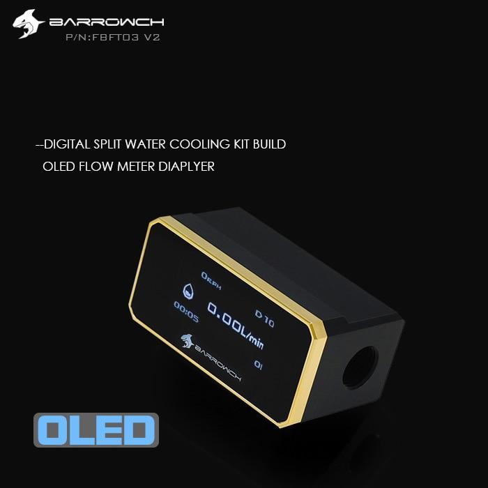 BARROWCH temperature Digital Displayer Water Flow Meter water cooling kit build accessory G1 4 Flow Sensor