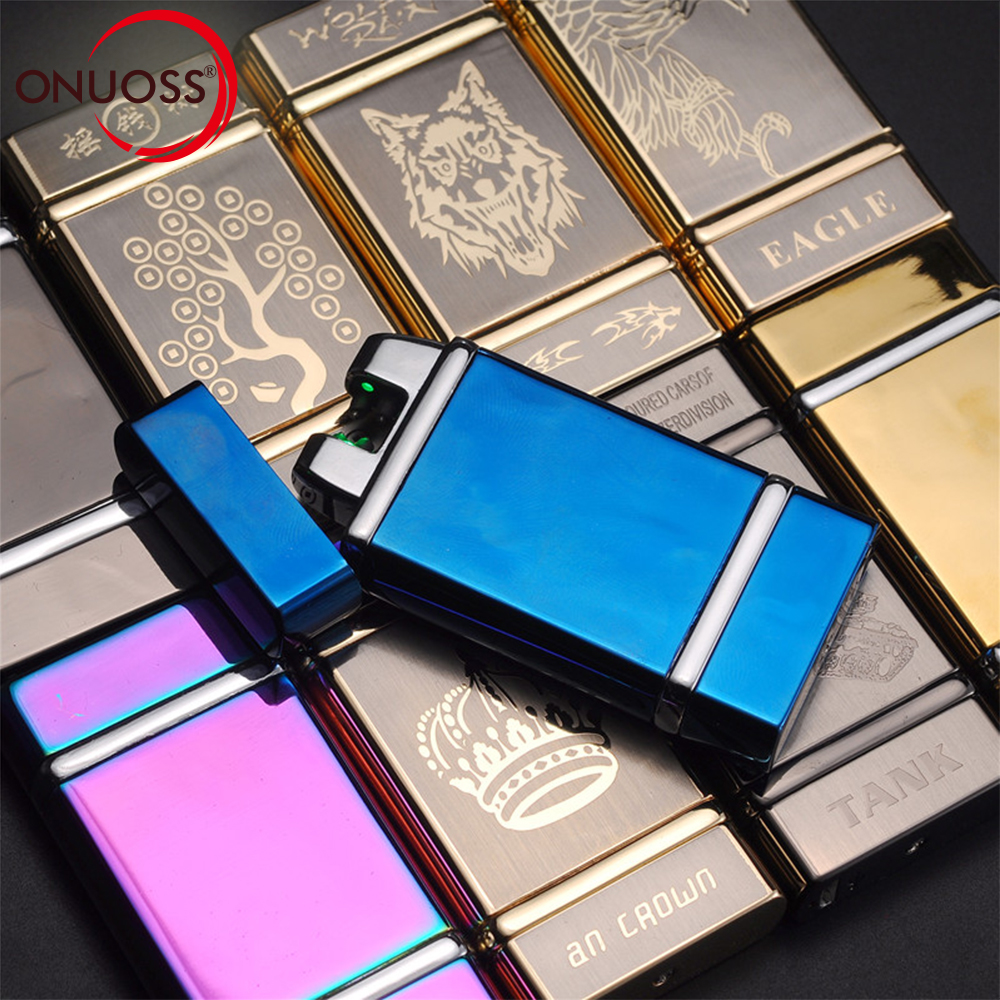 ONUOSS USB Charge Dual Arc Lighter USB Windproof Induction Ignition Electric Cigarette Lighter Metal Flameless Lighters 297V
