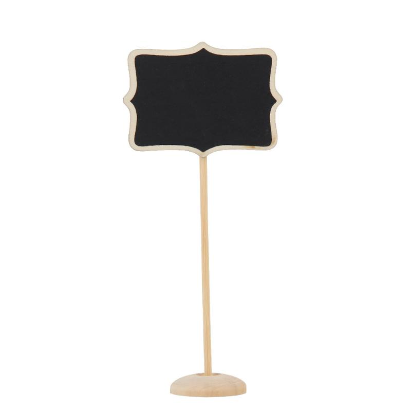 10Pcs Wood Floral Border Mini Blackboard Stand Wedding Lolly Party Wooden Tag Black Board Chalkboard for Party Office School