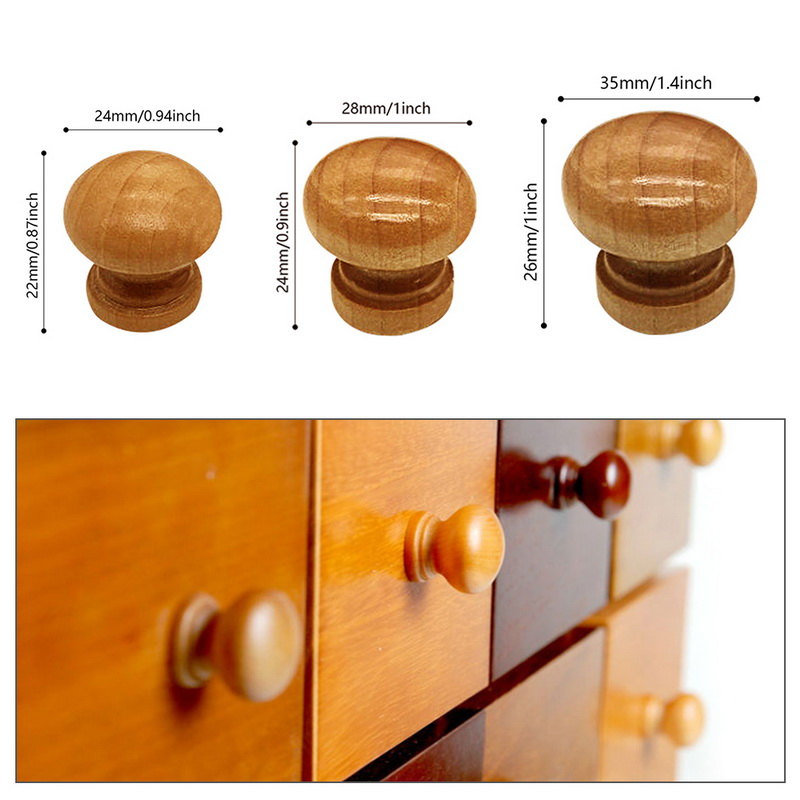 Urijk 10Pcs/pack Handles Natural Wooden Cabinet Drawer Wardrobe Knobs Door Pull Kitchen Handle Furniture Hardware Mushroom Ball