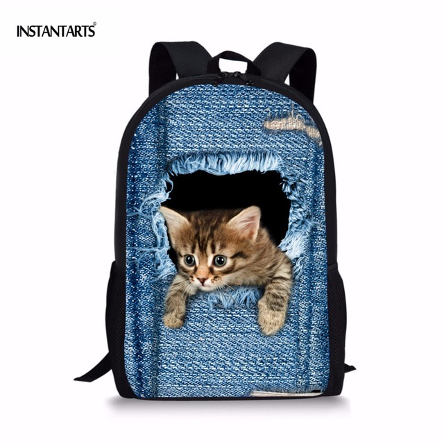 551be44a4e INSTANTARTS Fashion Children School Bags for Primary Student Cute Cat  Bookbags Teen Girls Schoolbag 3D Blue Denim Print Backpack