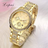 Lvpai Brand Famous 3 Eyes Women Luxury Watches Ladies Rhinestones Wristwatches Gold Plated Women Diamond Watches