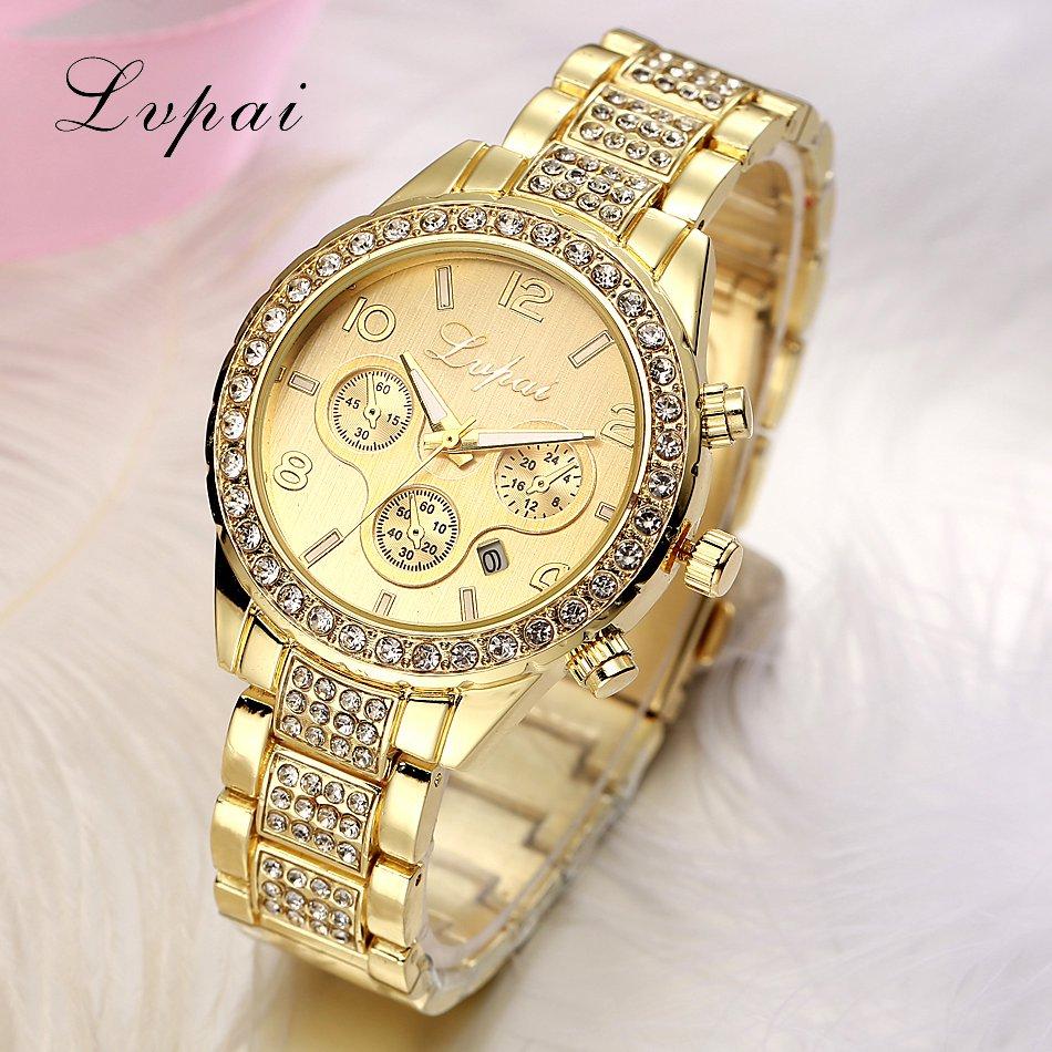 Prix pour Lvpai marque célèbre 3 yeux femmes de luxe montres dames strass montres or plaqué femmes diamant montres