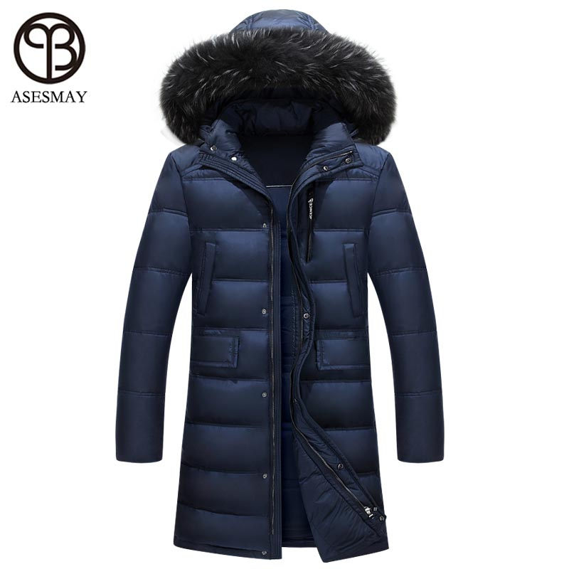 4c487ed3c Asesmay 2017 Brand Clothing X-Long White Duck Down Jacket Men Winter Coat  Fur Hooded Luxury Thick Warm High Quality Down Parkas