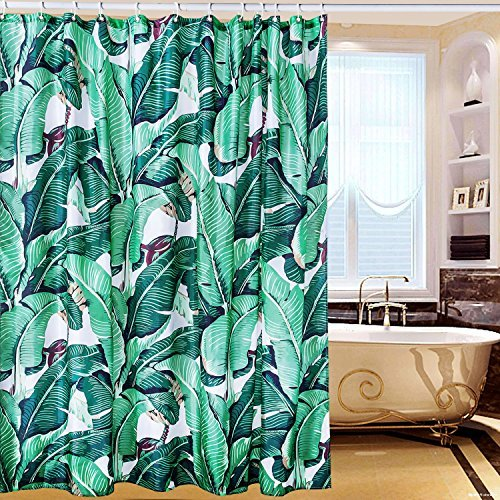 Tropical Green Shower Curtain Waterproof Polyester MaterialRainforest Banana Leaf PatternBathroom