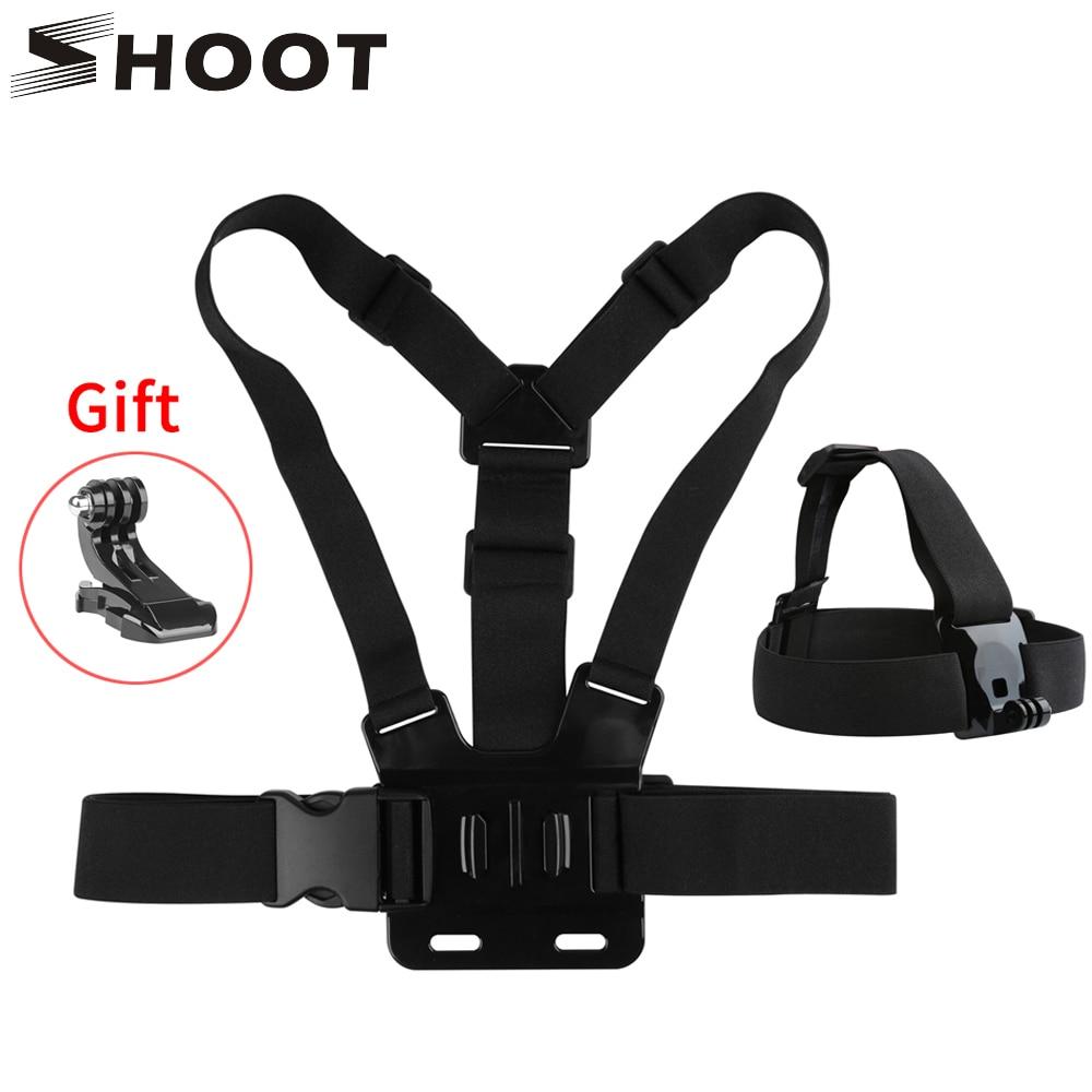 SHOOT Head Chest Strap Set Belt Mount For GoPro Hero 8 7 5 Black 4 Dji Osomo Xiaomi Yi 4K Sjcam Eken Go Pro Hero 8 7 5 Accessory