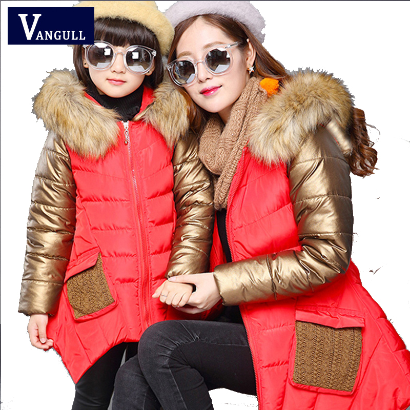 2016 Korean foreign children autumn and winter sweater coat, cute thickening Fur collar coat 2 color coat Mother and daughter