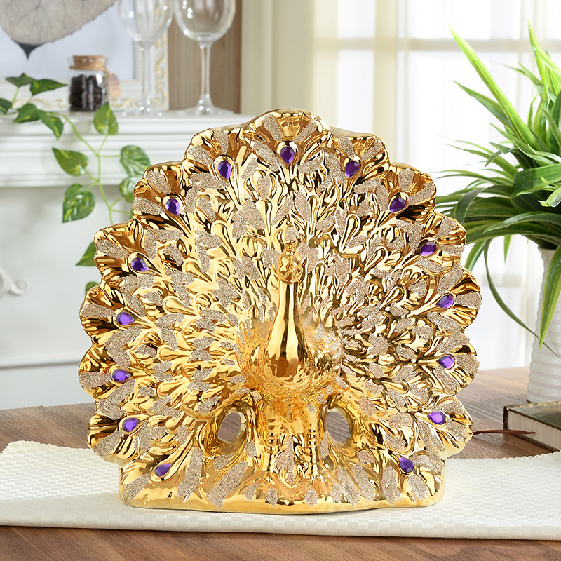 Gold Plated Ceramic Peacock Flower Vase Manual Purple Diamond Creative Ceramic Peacock Figurine