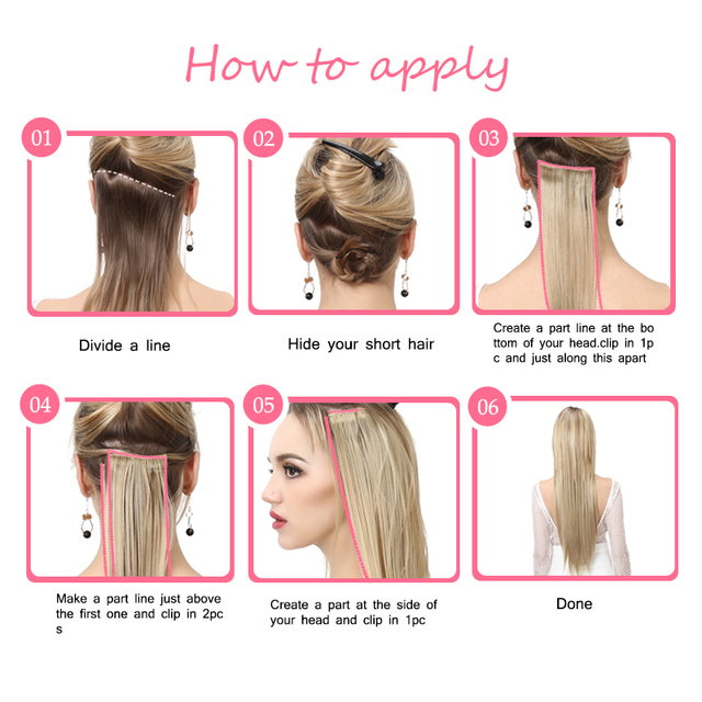 "SARLA 20"" 24"" 28"" Synthetic Hairpieces Straight Hair Extension Clip-in Hair Extensions Highlight Hair High Temperature Fiber 5"