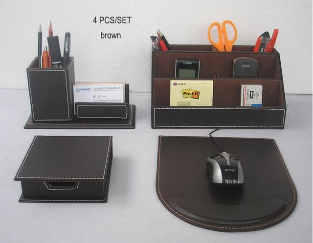 4PCS/set Leather Office Desk Organizer Accessories Box Office Organizer Pen  Holder Box Mouse Pad