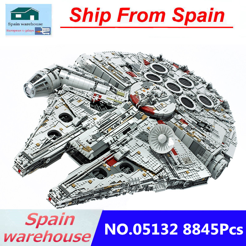 Building Blocks Star Wars 05132 Destroyer Millennium Falcon Compatible Legoing 75192 8845pcs Toys With figure Stickers Bricks