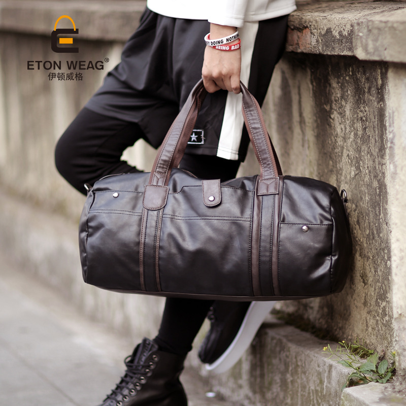 ETONWEAG Famous Brands Women Travel Bags Hand Luggage Black Zipper Leather Traveling Bag Barrel Shaped Big Organizer Duffle Bag
