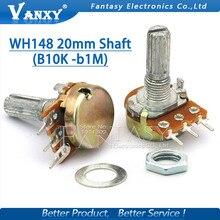 10pcs WH148 20mm Shaft Amplifier Dual Stereo Potentiometer B1K B2K B5K B10K B20K B50K B100K B500K 3Pin 1K 2K 5K 10K 50K 100K