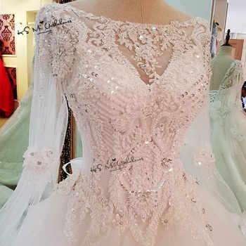 Vestido de Noiva Princesa Luxury Wedding Dresses 2018 Long Sleeve Crystals Beads Wedding Gowns Sequin Sparky Church Bride Dress - DISCOUNT ITEM  25 OFF Weddings & Events