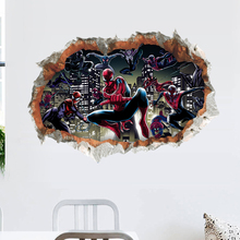 famous movie cartoon superhero wall stickers for kids rooms removable fake window anime decals