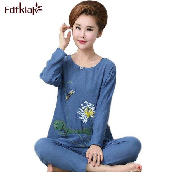 df66e436e Fdfklak Women s Pajamas Spring Autumn Sleepwear Women Cotton Pijamas De  Mujer Cotton Linen Pijamas Plus Size XL XXL 3XL 4XL Q484