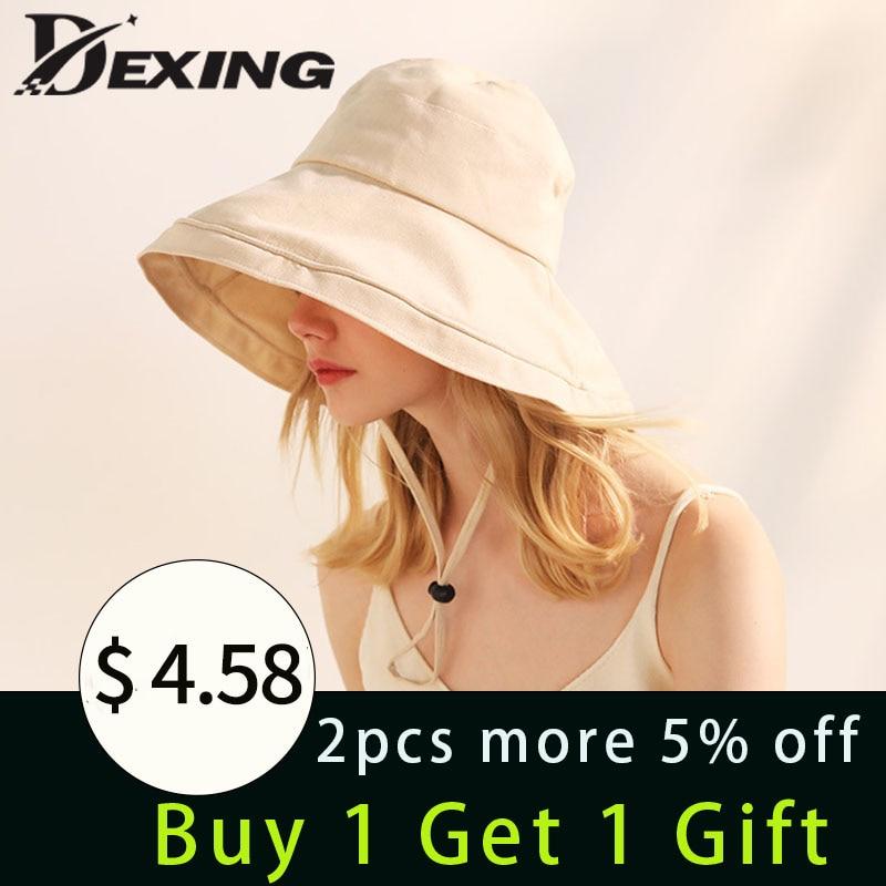 100% Cotton Linen Sun Hat For Women Summer  Anti-UV Beach Hat Foldable Panama Ladies Girls Outdoor Wide Brim Korean Sea Cap